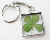 four leaf clover keychain - keychain - stocking stuffers - shamrock - gifts for dad - lucky - keys - present for men