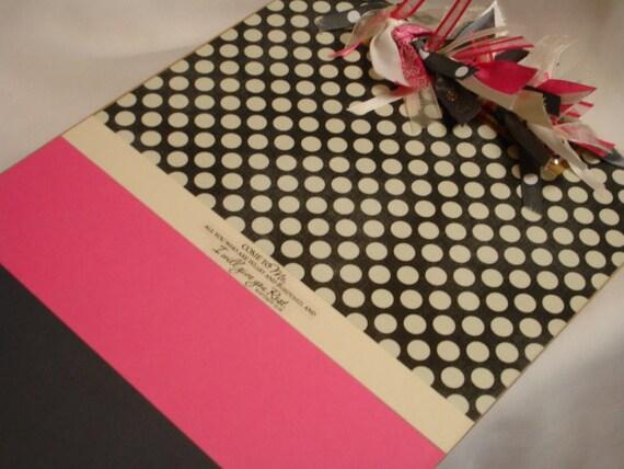 CHRISTIAN CLIPBOARD pink and gray dot Matthew 11.28