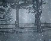 White Snowflake Storm Fantasy, Abstract Art Original Photograph 8.5x11 taken in the woods of Maine, by Paper-Mâché Dream Photography,fPOE
