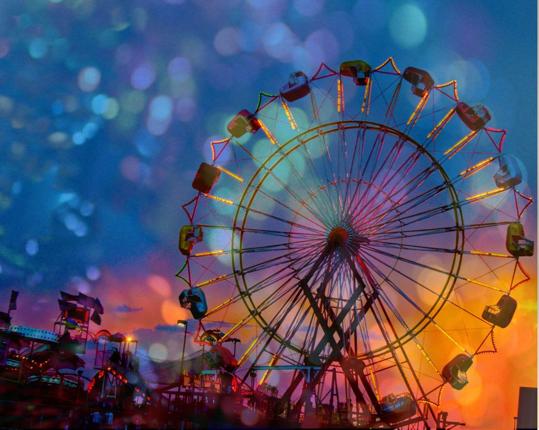retro carnival lights a midsummer nights dream sky