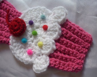 Cupcake Scarf Crochet Pink White Frosting Sprinkles 3D Cherry Scarf Foodie Food Cute Sweet Yummy Candy Soft length Choose  Made To Order