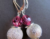 SALE Pink Crystal and Pave Beaded Sterling Silver Leverback Earrings - Disco Bling