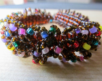 Chocolate Cake with Sprinkles - Caterpillar Beadwoven Bracelet in Brown with Multi-Colors READY TO SHIP