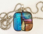 MOVING SALE.  OOAK Blue, Pink, Gold and Copper Dichroic Glass Necklace