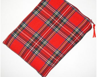 Red Plaid Fabric Kindle 6 Paperwhite or Touch Case Zippered Padded Tartan Pouch Sleeve