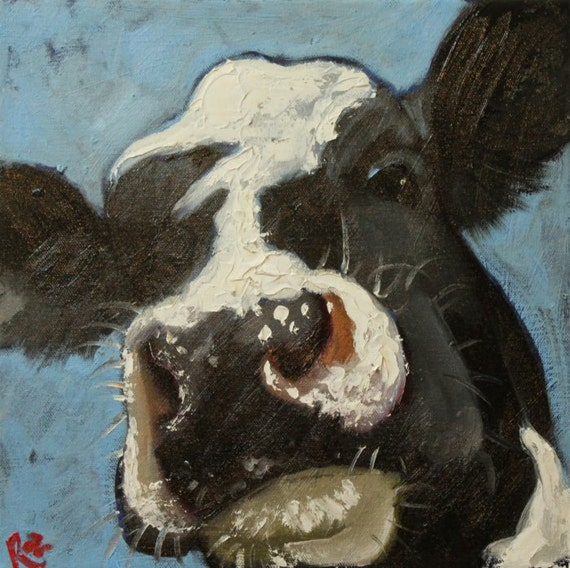 Cow painting 518 12x12 inch original oil painting by Roz