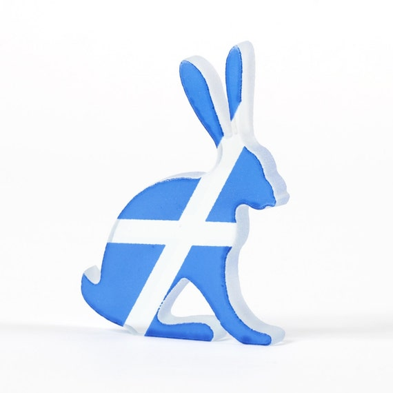Scottish Saltire Hare Glass Sculpture Screen Printed Enamel