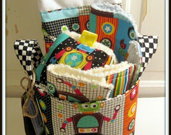 Robots Baby Gift Basket--- Burp Cloth, Bib, Rattle Block, Wash Cloth Set and Fabric Basket