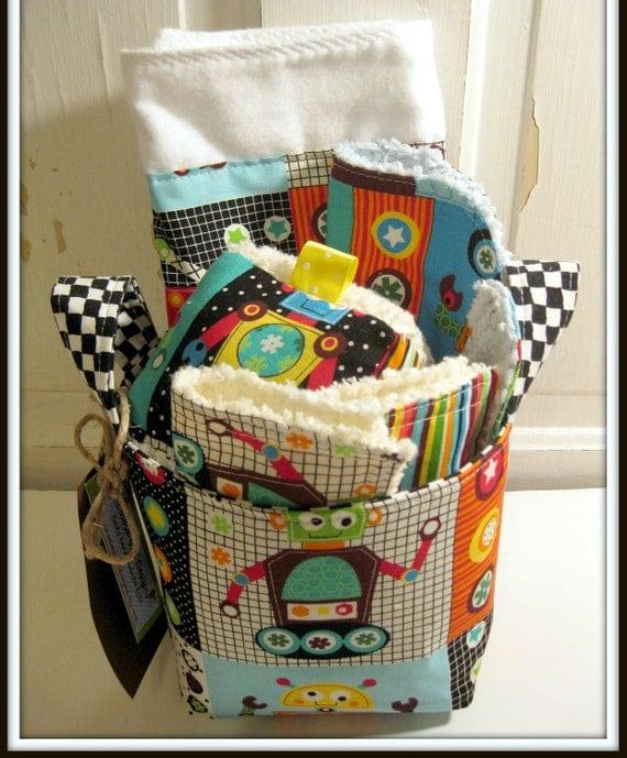Robots Baby Gift Basket--- Burp Cloth, Bib, Rattle Block, Wash Cloth Set and Fabric Basket