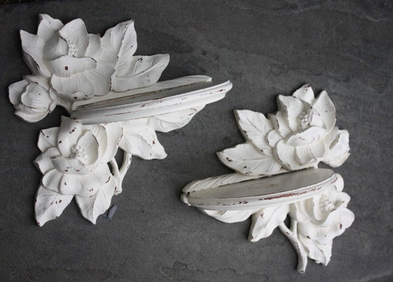 Perfectly Shabby Cottage Chic Carved Wood Wall Sconces