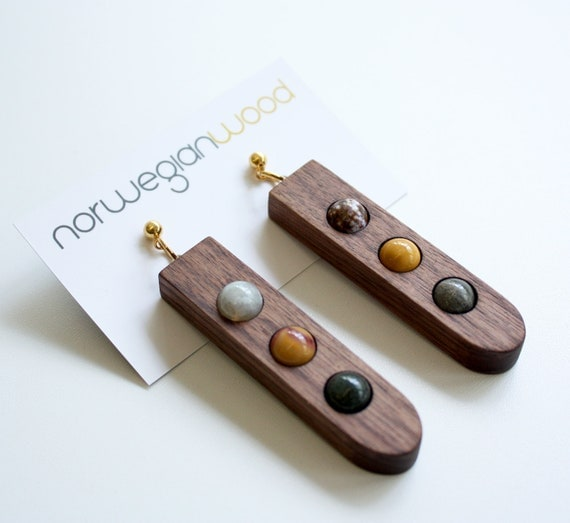 """Wood and Multi Stone Earrings from the """"Palette"""" collection - Norwegian Wood x Devin Barrette Collaboration"""