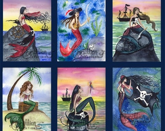 Six Pirate Mermaid Note Card from Original Watercolors by Camille Grimshaw