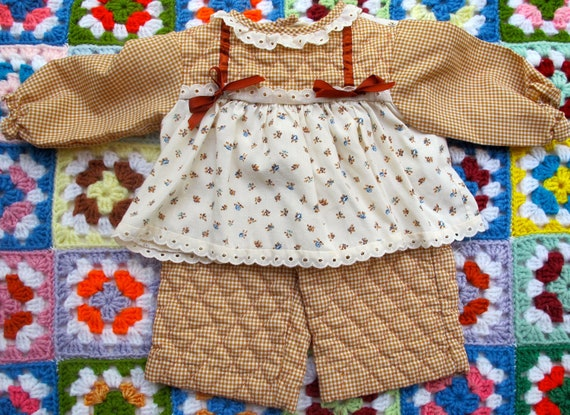 Brown Gingham Outfit 6-9 Months