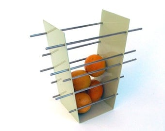 Miami - Modern Fruit Bowl - Welded steel and Stainless Steel - Sea Foam Green and Orange - You add the Oranges