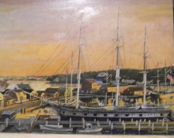 G Whartenby . Vintage Oil Painting Harbor Scene . Mystic CT