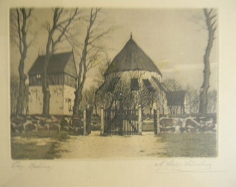 Lundberg . Etching . Cottages Behind the Gate