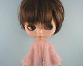 Blythe doll handmade knitted pink gossamer mohair bell sleeve cardigan BL197