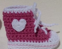 Crocheted Baby Booties Raspberry Pink and White High Top Sneaker Baby Booties 3 to 6 months with hearts