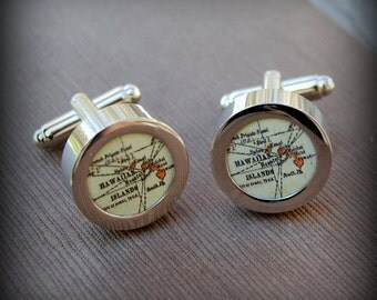 Hawaii Vintage Map Cuff Links - Great Father's Day Gift