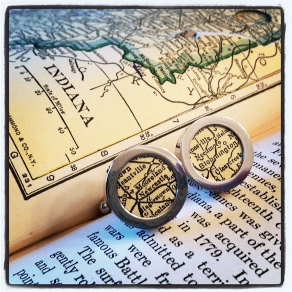 Custom Map Cuff Links - Personalized Vintage Map - You Pick Cities - Gift for Dad - Map Cufflinks - Graduate - Father's Day - Wedding