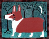 Smiling Welsh Corgi ACEO/ Art Trading Card Mini Print - Folk Art Animal Card Funny Corgi at Night