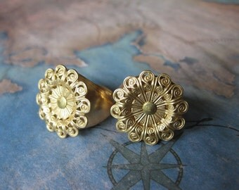 1 PC adjustable raw brass small Filigree flower ring setting - riveted