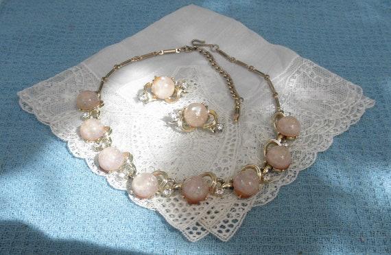 Vintage Coro Demi Parure Necklace Earrings