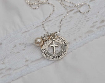 BRAND NEW Sterling silver, hand stamped necklace perfect for confirmation,baptism or flower girl,bridesmaid