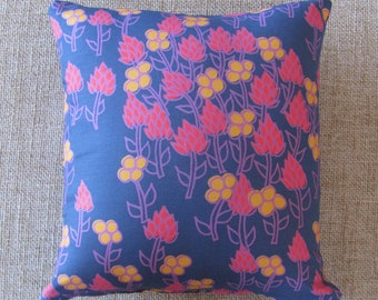 12x13 in Handmade Rectangle Throw Pillow with Purple, Red, and Yellow Floral Print