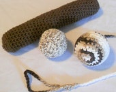 Catnip Cat Toy Set with Kitty Kicker Tetherball Ball and Catnip Ball - CrochetByIlene