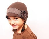 Bicolor hat.  light & Dark brown comfy Kids hat with flower. Children accessories. Valentines day