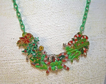 Christmas Bow Holiday Tree Candy Cane Collage Necklace