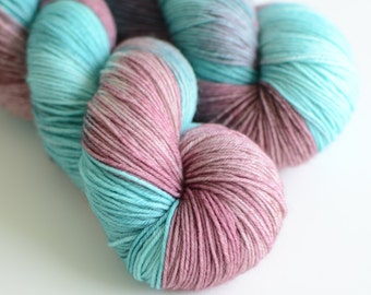Hand Dyed Sock Yarn Self Striping - Superwash  Merino / Nylon - 463 yards - Madame Semele in Turquoise and Dusty Rose