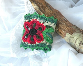 Crochet Cuff, bracelet, Red crochet lace flower