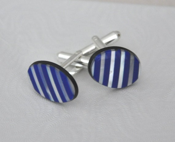 Mother of Pearl Cuff links, Blue Agate, silver cuff links, Men's accessories, Gemstone Cuff Links, Oval stone, Blue Cuff Links