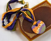 Yummy Polymer Clay Necklace on Silk Ribbon in Purple, Orange and Green