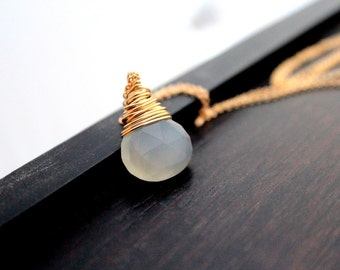 Moonstone Necklace In 14K Gold Filled, White Gemstone, Wire Wrapped Minimalist June Birthstone - Moonshadow