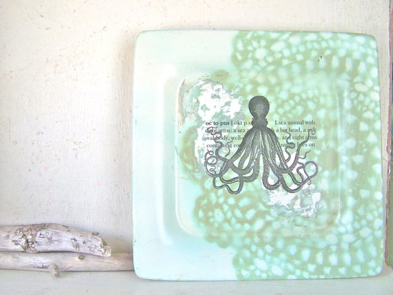 Octopus Sign Shabby BEACH COTTAGE Wall Decor Sign Vintage Coastal Home Decor
