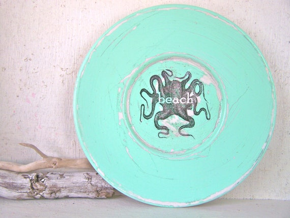 BEACH COTTAGE Decor Octopus Beach Sign Wall Decor Shabby Vintage Beach