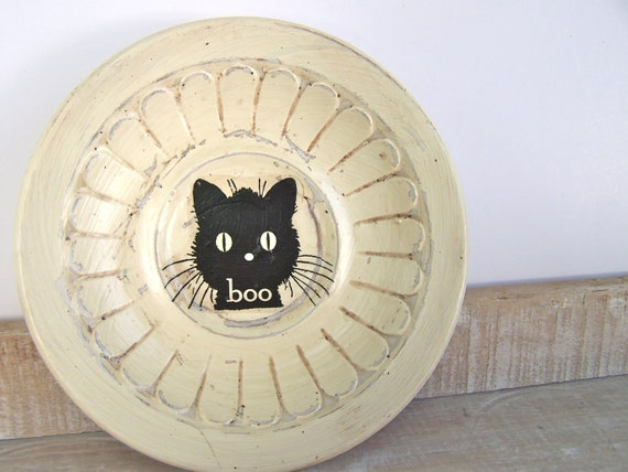 Primitive Halloween Black Cat  Wall Decor BOO SIGN Shabby Cottage Chic