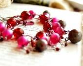 Antique Button Jewelry Charm Bracelet Victorian Summer Berries