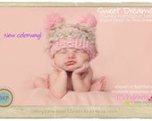 Baby Girl Hat Photo Prop for Photo Shoot, Birthday Gift - Sweet Dreams Hat in Heathered Pink by TrickyKnits