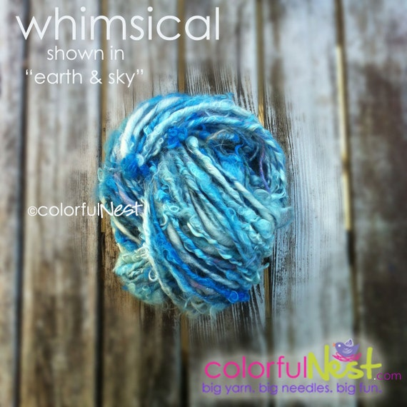 """Funky, Chunky Handspun Yarn by Colorful Nest - Whimsical in """"earth and sky"""" - perfect as accent on newborn photo props, hats, scarves"""