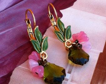 Green Crystal Flower Drop Gypsy Earrings