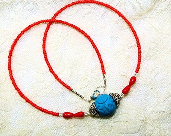 Red Coral and BlueTurquoise Necklace, Carved  Bead Focal. Ladies 18 inch