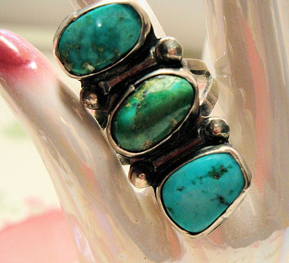 Turquoise Sterling Silver Ring, Large Look Ring, Hand Crafted Vintage Silver Ring