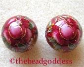 New Pair Beautiful Japanese Tensha Beads RED ROSE RUBY 12mm