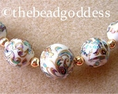 5 Graduated Japanese Tensha  Beads EXCITING PEACOCK WHITE 10, 12 & 14mm