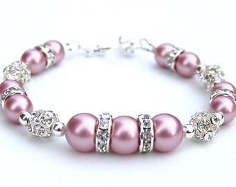 Pink Pearl Rhinestone Bracelet, Bridesmaid Gifts, Pink Wedding Jewelry, Gift for Her, Under 25