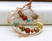 Wire Wrapped Bohemian Copper Pendant / Southwestern  /   Fall Fashion / Gemstone / Free Form